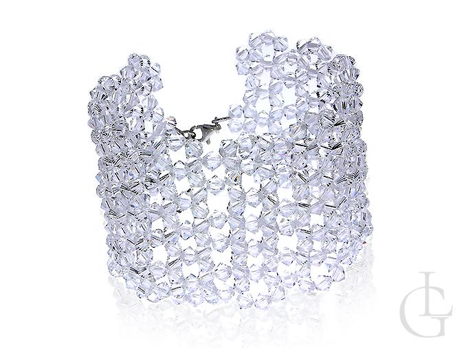 Srebrna bransoletka damska z kryształami Swarovskiego