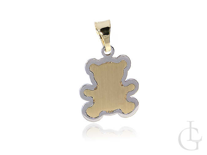 Miś zawieszka złota na łańcuszek- złoto klasyczne i białe