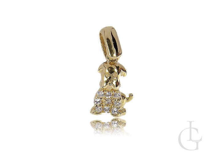 Wisiorek złoty pies piersek na łańcuszek cyrkonie złoto 14K