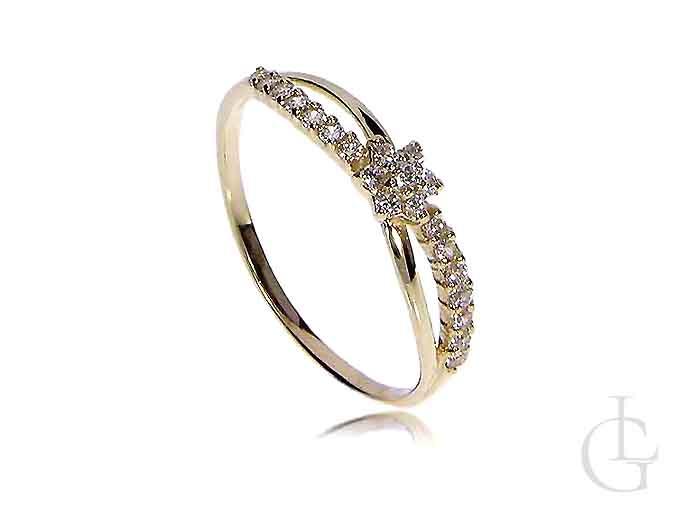Złoty pierścionek zaręczynowy klasyczny złoto 14K