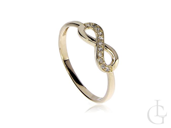 Pierścionek złoty zaręczynowy znak nieskończoności
