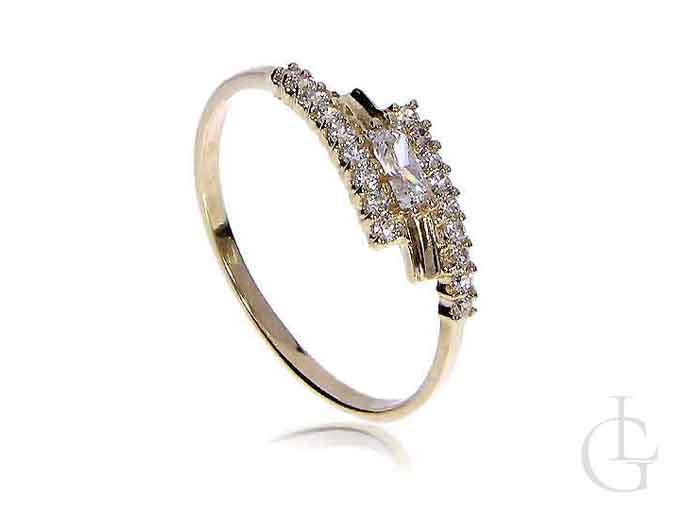 Zmysłowy pierścionek zaręczynowy ze złota 14K