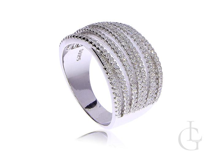 bbd7596cedfa55 Pierścionek srebrny szeroki obrączka cyrkonie srebro rodowane 0.925 ...