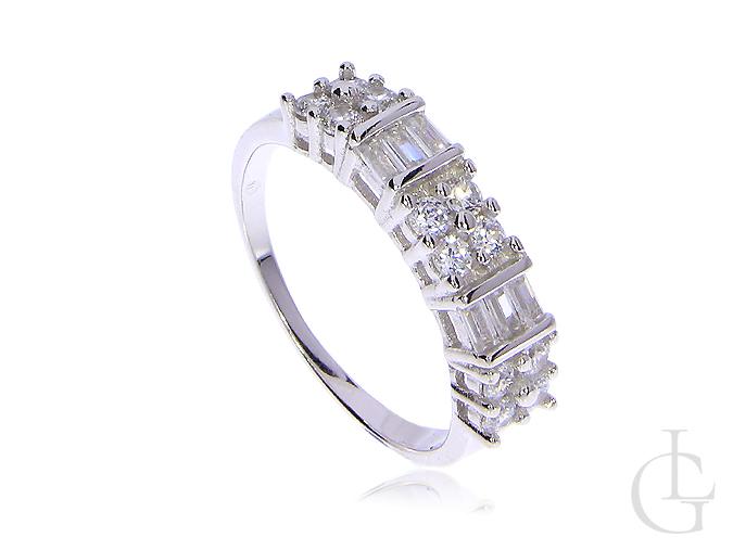 17fcdb0e7fc02d Pierścionek obrączka srebro rodowane 0.925 cyrkonie, modne wzory ...