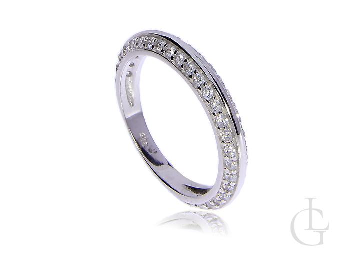 7d2f0f0e82d204 Obrączka srebrna pierścionek z cyrkoniami, srebro rodowane 0.925 ...