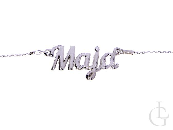 Maja srebrny damski łańcuszek naszyjnik z imieniem