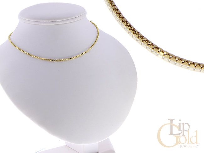 Złoty łańcuszek pr.0,585 splot KOSTKA na prezent