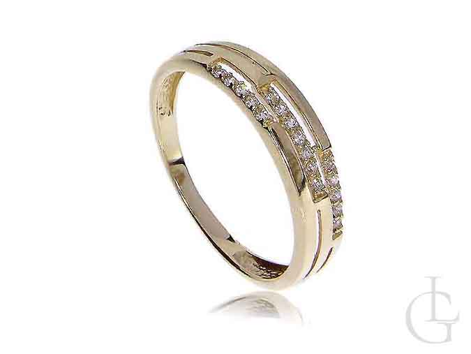 Złoty pierścionek tradycyjny obrączka z cyrkoniami złoto 14K