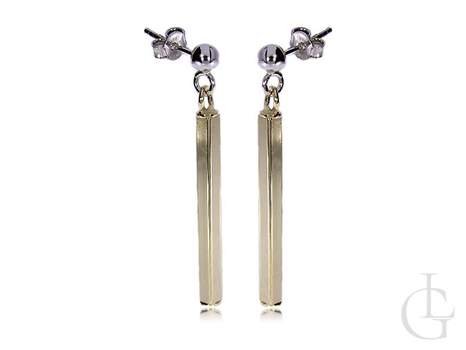 Kolczyki srebrne pozłacane wiszące długie zapięcie sztyft