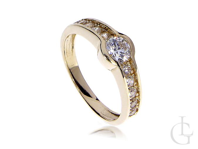 Pierścionek złoty na zaręczyny z cyrkoniami złoto 14K