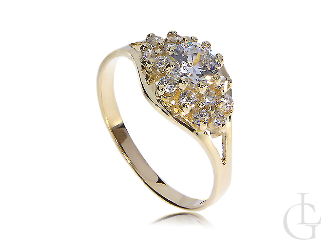 Złoty pierścionek zaręczynowy ekskluzywny złoto 14K