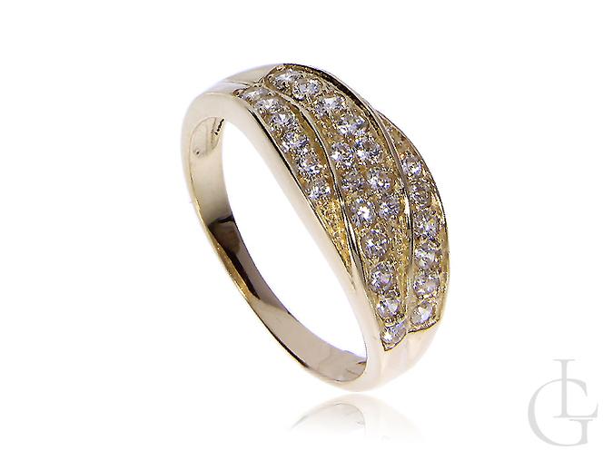 Złoty pierścionek z cyrkoniami złoto żółte 14 szeroka szyna