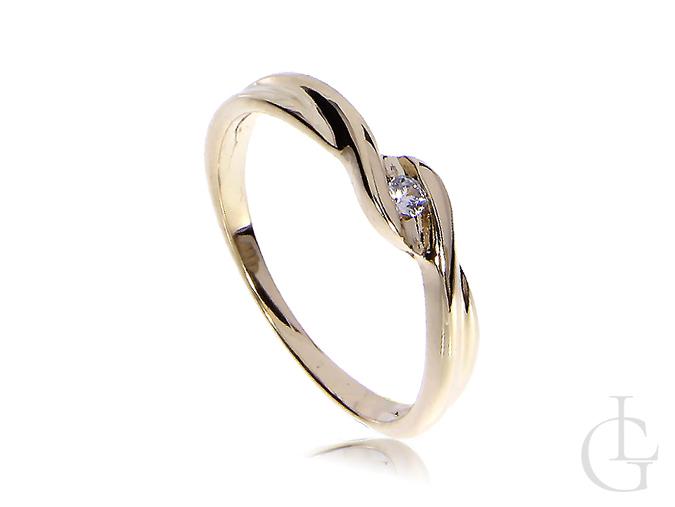 Złoty pierścionek zaręczynowy żółte złoto 14K cyrkonia