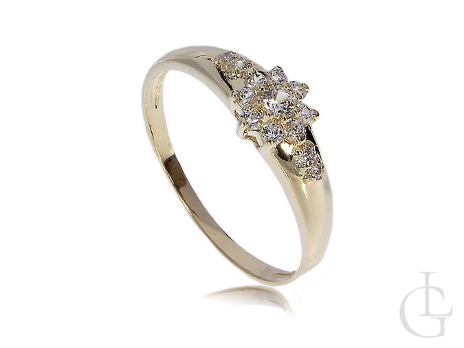 Ekskluzywny pierścionek złoty zaręczynowy z cyrkoniami złoto żółte 14K