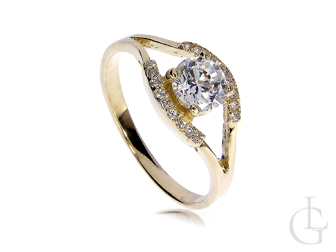 Ekskluzywny złoty pierścionek zaręczynowy złoto żółte 14K