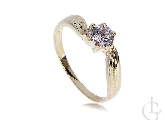 Ekskluzywny złoty pierścionek zaręczynowy z kamieniem złoto żółte 14K