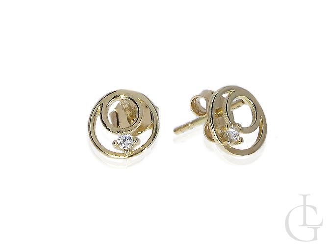 ccd4a7fbd000c8 Złote kolczyki okrągłe cyrkonie złoto żółte 0.585 14K wkrętki - LipGold