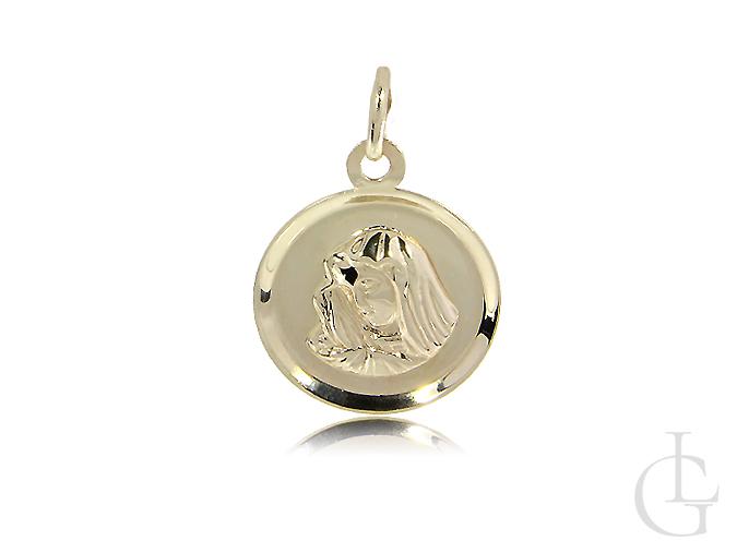 Medalik złoty Matka Boska na łańcuszek złoto 14K CHRZEST, I KOMUNIA ŚWIĘTA