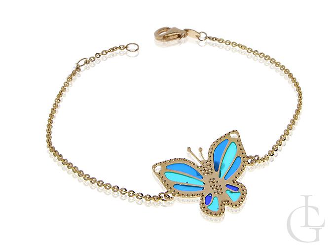 Złota bransoletka łańcuszek z motylem złoto 14K 585 złota celebrytka szkło weneckie