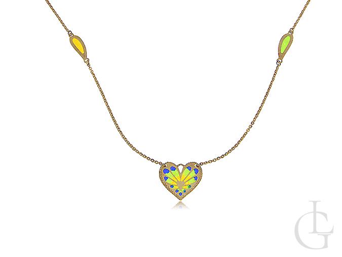 Złoty naszyjnik z serduszkiem i szkłem weneckim w cudownych kolorach