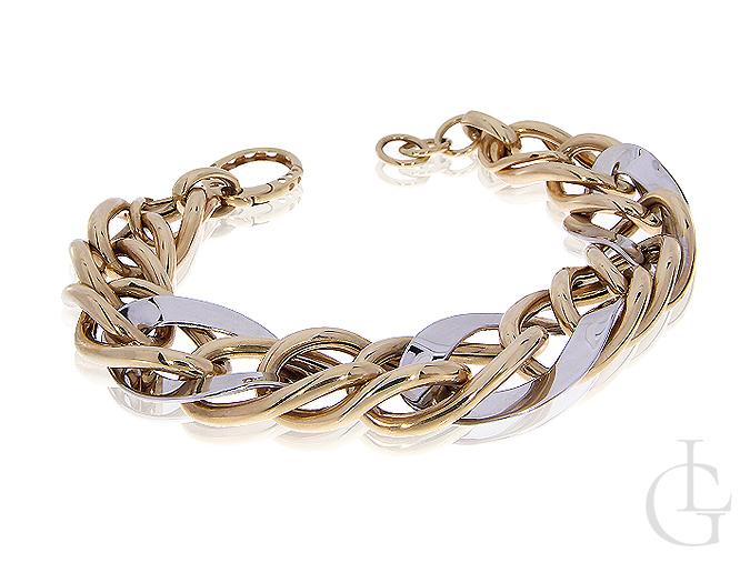 Złota bransoletka ekskluzywna gruba szeroka złoto białe żółte 14K 585