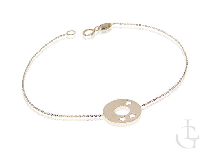 Celebrytka bransloetka złota 14K 585 kółko gwiazdki łańcuszek