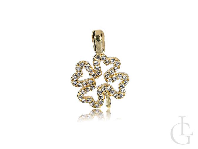 Czterolistna koniczyna wisiorek złoty na łańcuszek złoto żółte 14K 585 cyrkonie
