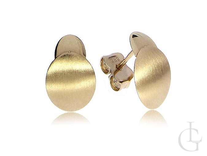 Złote kolczyki owalne zapięcie sztyft złoto żółte 14K 585