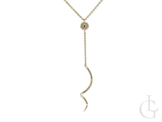 Złoty naszyjnik damski z wisiorkiem łezką i kuleczką złoto żółte 14K 585