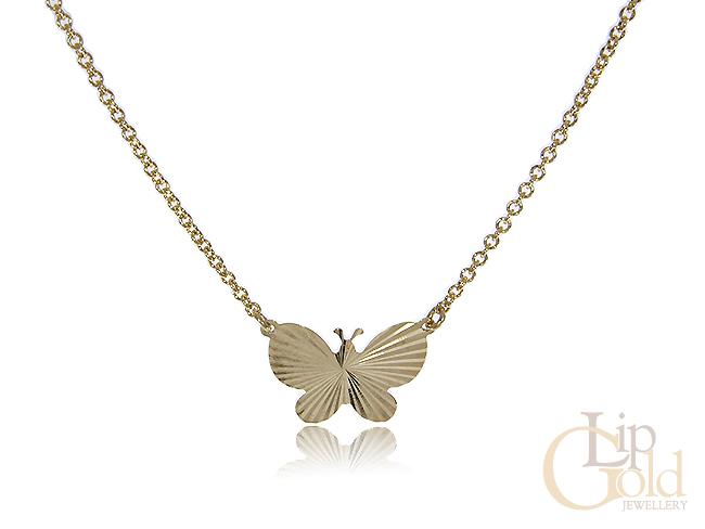Złota celebrytka naszyjnik z motylem łańcuszek wisiorek motyl złoto 14K