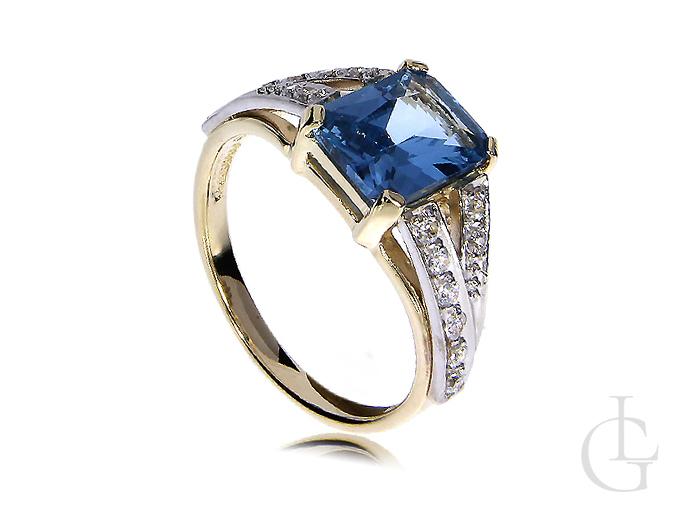Złoty pierścionek z topazem zaręczyny topaz złoto żółte 14K 585