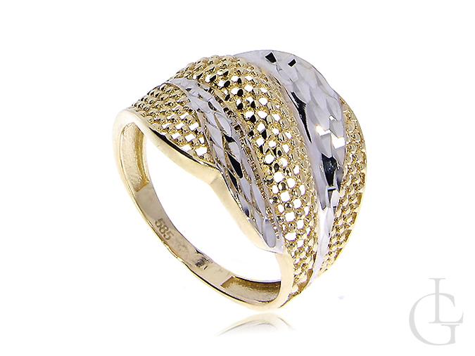 Ekskluzywny złoty pierścionek złoto żółte białe 14ct