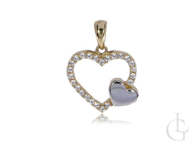Złoty wisiorek serce z cyrkoniami zawieszka złoto 14ct 0.585