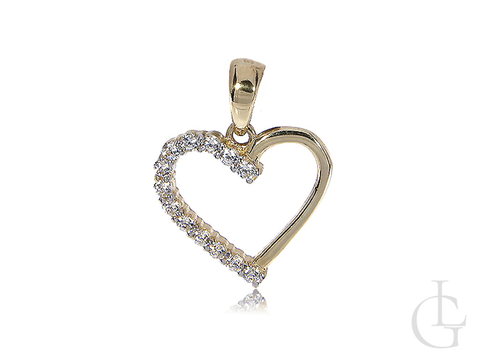 Serce złoty wisiorek z cyrkoniami na łańcuszek złoto żółte 14ct