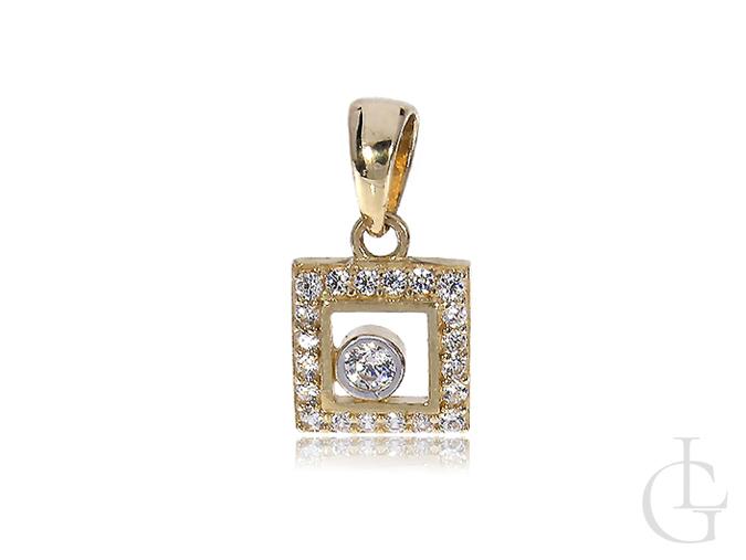Złota zawieszka kwadratowa na łańcuszek wisiorek złoty 14K cyrkonia