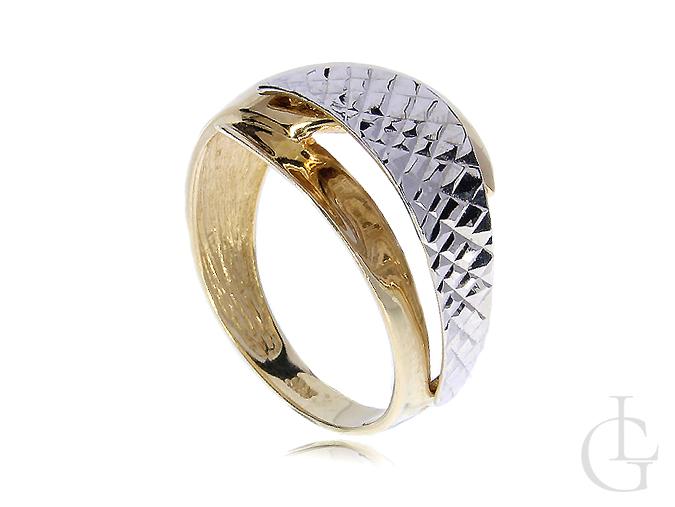 Złoty pierścionek ekskluzywny złoto żółte białe 14ct 0.585