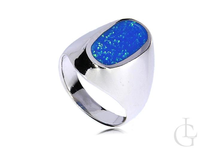 ec6eba3b244bbf Pierścionek srebrny owalny z opalem niebieskim srebro 0.925 opal