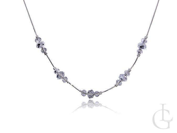 Naszyjnik srebrny damski z kryształkami
