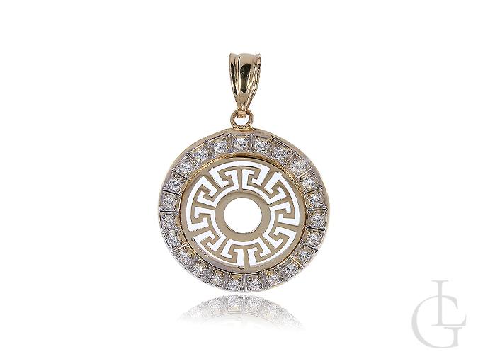 Złoty wisiorek okrągły z cyrkoniami kółko grecki wzór złoto białe żółte 14K 0.585