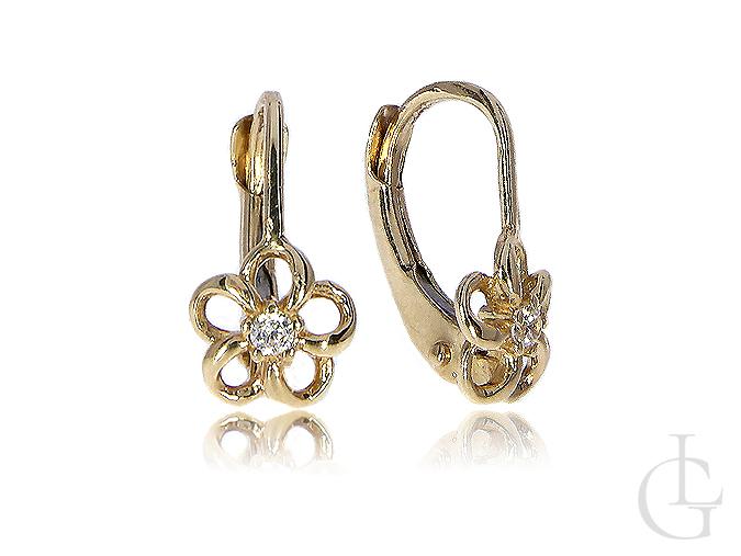 Złote kolczyki wiszące z cyrkoniami kwiatki złoto 0.585