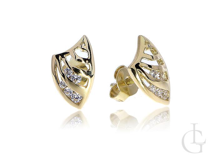 Złote kolczyki z cyrkoniami zapięcie sztyft złoto żółte 14K