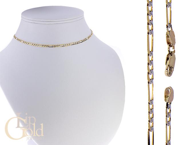 Elegancki łańcuszek złoty pancerka złoto żółte białe pr. 0.585 14K