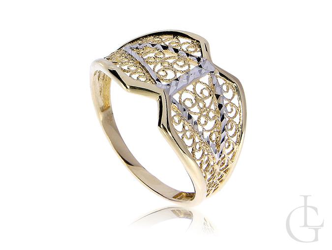 Elegancki złoty pierścionek szeroki złoto żółte białe pr. 0.585 14K