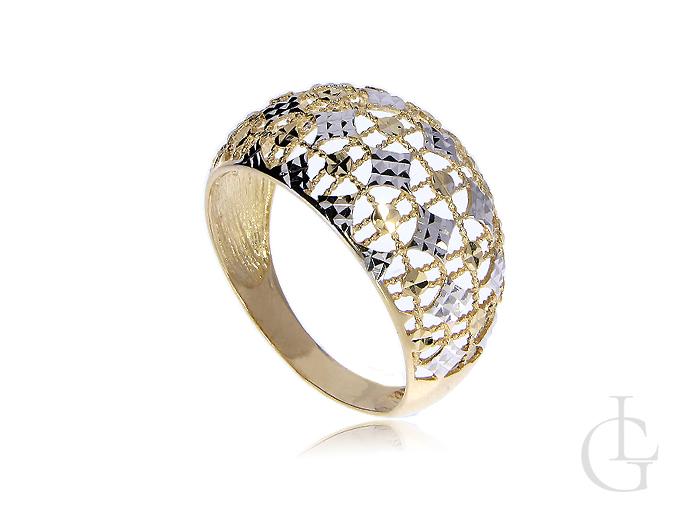 Złoty pierścionek szeroki ekskluzywny złoto białe żółte pr. 0.585 14K