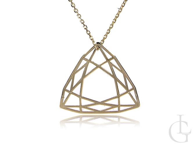 Celebrytka złoty naszyjnik z origami złoto żółte 14K łańcuszek