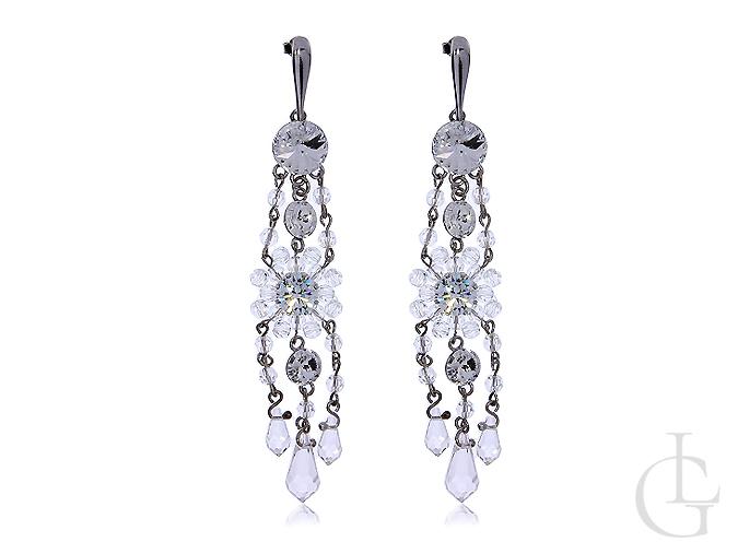 36dd47db153da0 Kolczyki srebrne długie wiszące cyrkonie Swarovskiego kryształy Swarovskiego