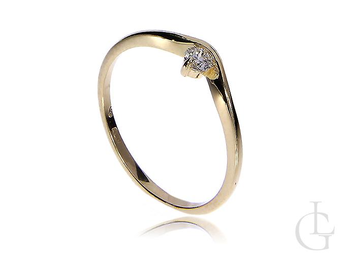 Złoty pierścionek zaręczynowy z brylantem złoto 14K 0.585