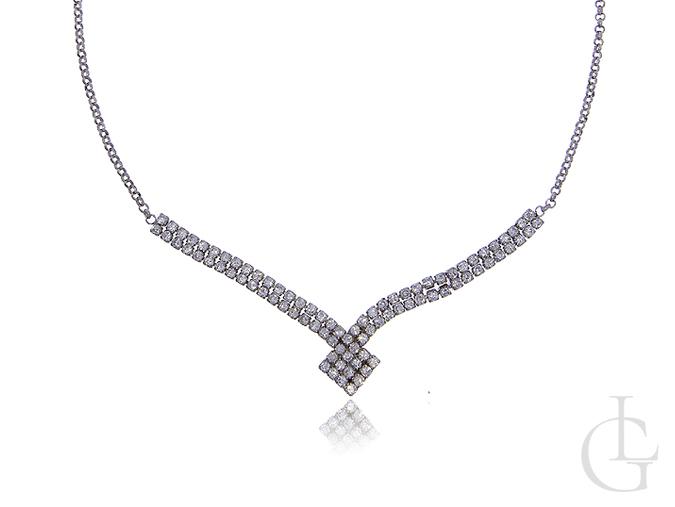 Naszyjnik srebrny damski kolia cyrkonie srebro 0.925