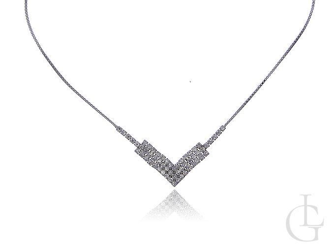 Srebrny naszyjnik damski kolia cyrkonie srebro 0.925