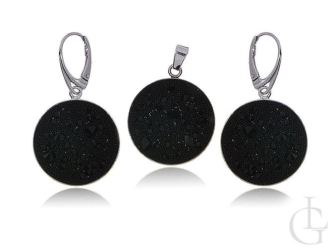 Swarovski srebrny komplet biżuterii czarne kryształy kolczyki okrągłe i wisiorek